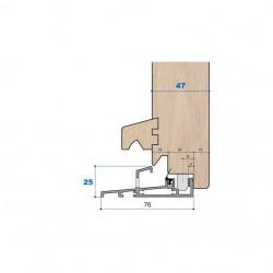 Seuil nez incliné H 25, porte 47 mm