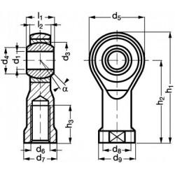 Embout à rotule femelle acier/PTFE C1-42 filetage à droite