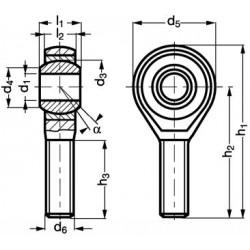 Embout à rotule mâle acier/PTFE C1-43 filetage à droite
