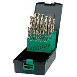 Jeu de forets de grande qualité HSS-CO T41-19-150 DIN 338N composé de 5% de Cobalt. Coffret composé de 19 forets (1 à 10 mm) ou