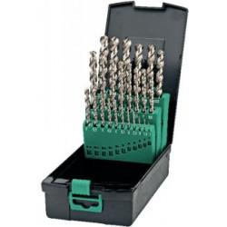 Jeu de forets HSS-CO T41-19-176 DIN 338N Spécial perçage acier et inox. Coffret à l'unité composé de dimensions croissantes de 0