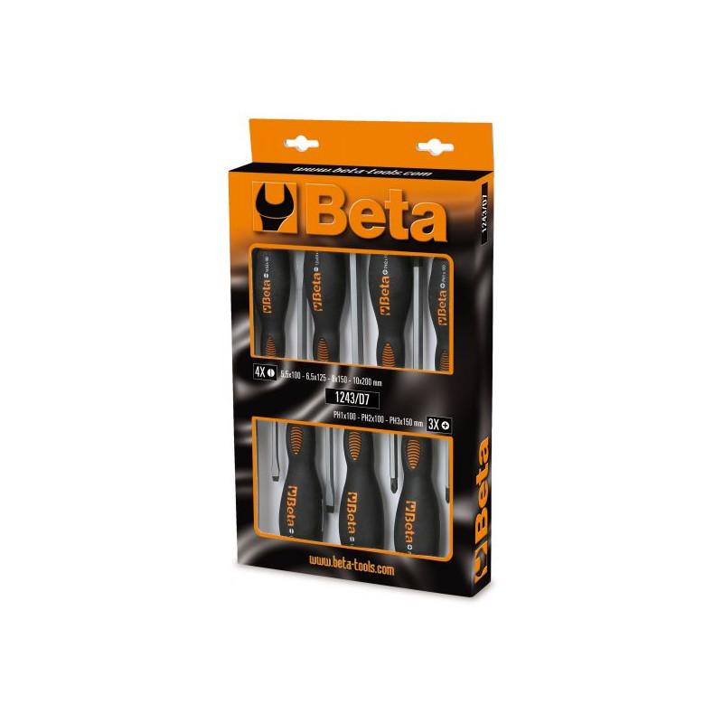 Coffret 7 tournevis BETA T22-1243/D7 composé de 4 tournevis plats et de 3 cruciformes
