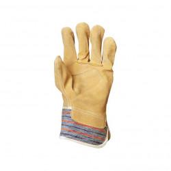 Paire gants type DOCKERS cuir et toile