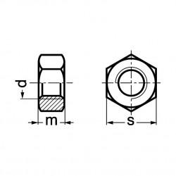 Ecrou hexagonal HU cl 8 DIN 934 zingué