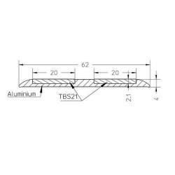 Profil Alu P62 pour bande antidérapante